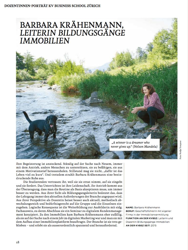 KV Business School Zürich: Porträt Barbara Krähenmann Leiterin der Bildungsgänge Immobilien